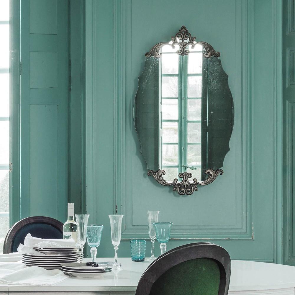 Miroir ovale en m tal bronze h 101 cm lydiane maisons du monde - Miroir ovale sur pied ...