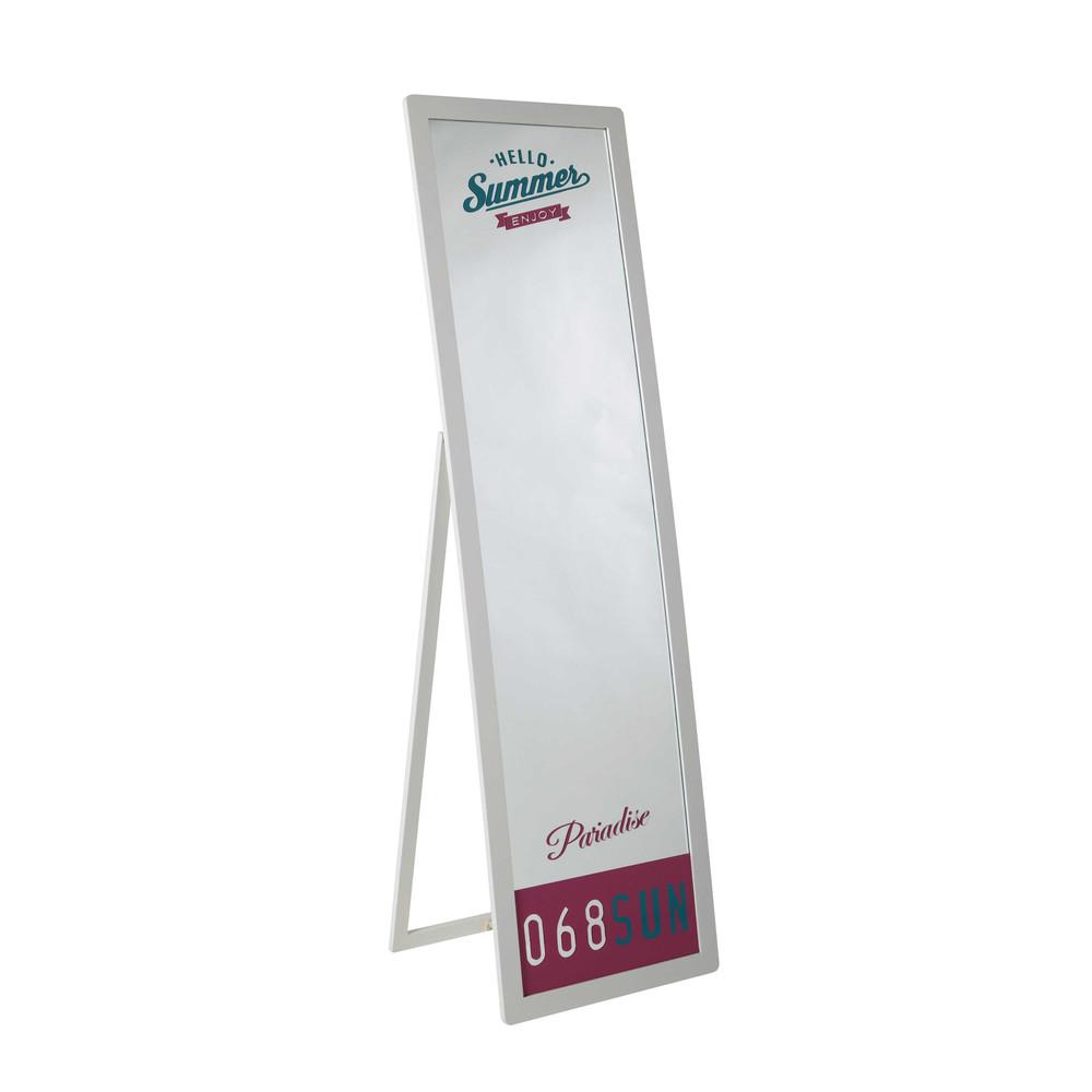 Miroir Bois Blanc : d?coration ? Ados ? Miroir psych? en bois blanc H 160 cm BEVERLY