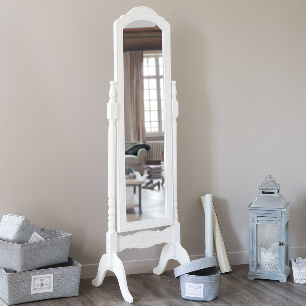 miroir psych en bois de paulownia blanc h 169 cm c leste maisons du monde. Black Bedroom Furniture Sets. Home Design Ideas