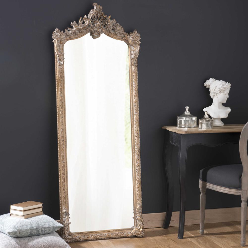 Miroir psych en bois et r sine dor h 168 cm for Miroir psyche