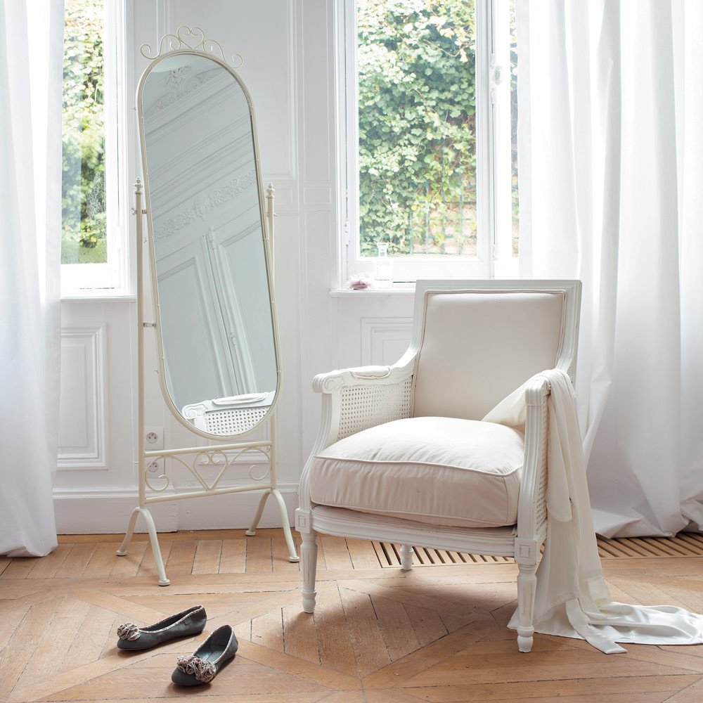 miroir psych en m tal blanc h 167 cm monts gur maisons du monde. Black Bedroom Furniture Sets. Home Design Ideas