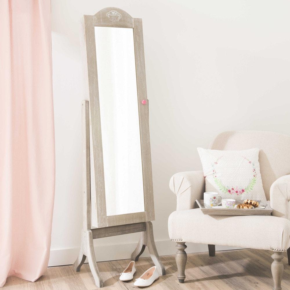 Miroir psych porte bijoux h 160 cm ang lique maisons du for Miroir psyche