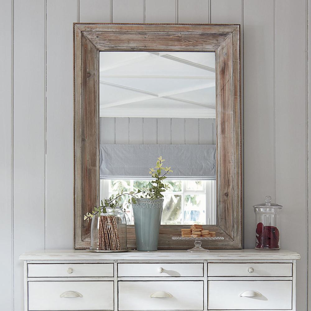 Miroir rectangulaire blanchi h 112 cm perrine maisons du for Miroir rectangulaire
