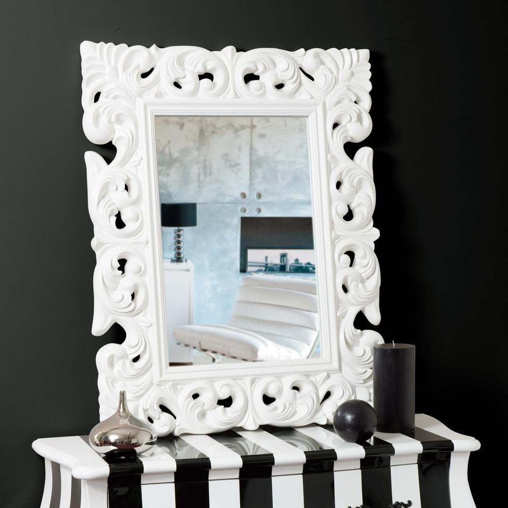 Miroir rivoli blanc 90x70 maisons du monde for Miroir blanc maison du monde