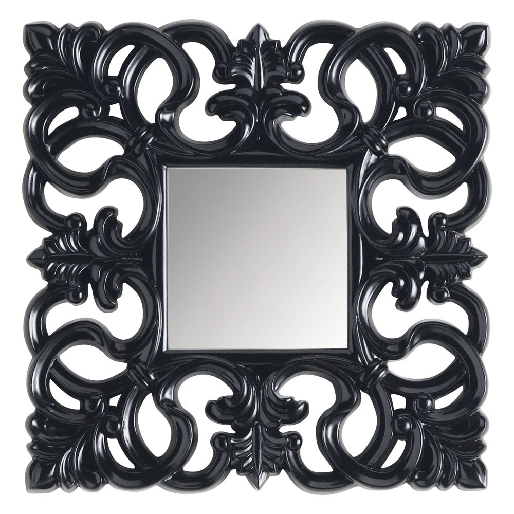 miroir rivoli carr noir maisons du monde. Black Bedroom Furniture Sets. Home Design Ideas
