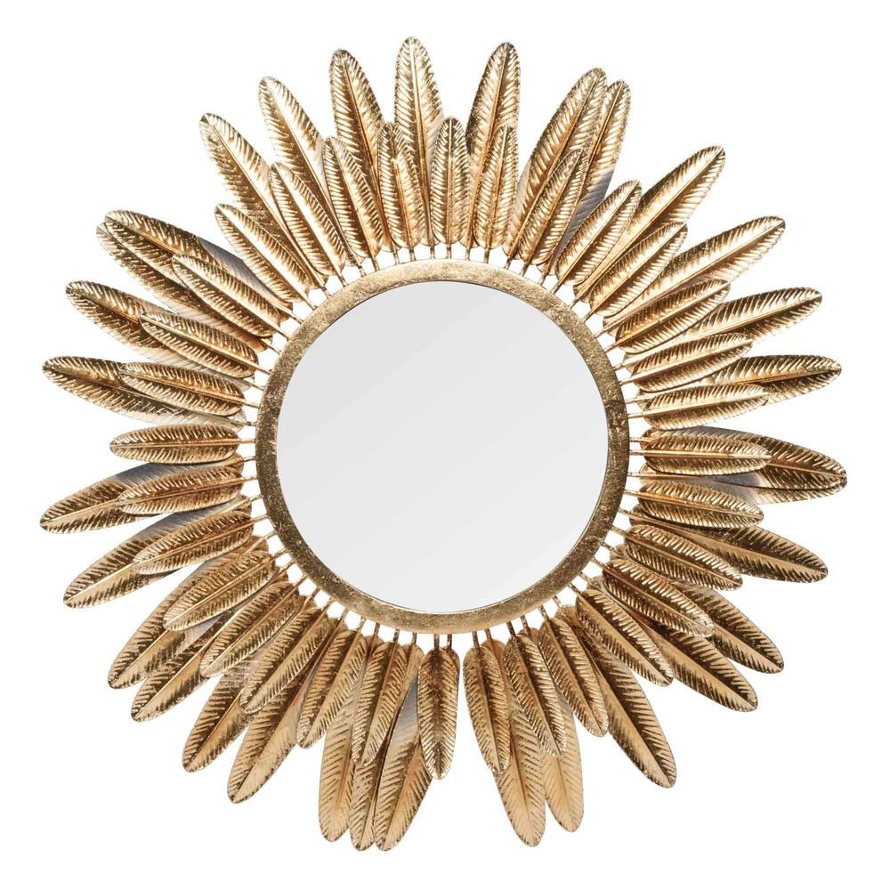 Miroir rond plumes en m tal dor pluma maisons for Miroir plume