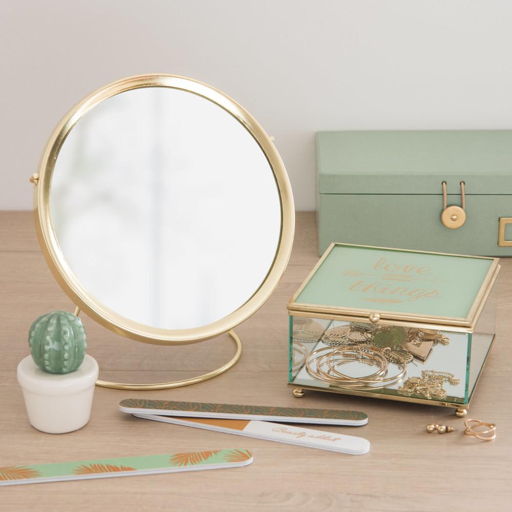 miroir rond poser en m tal dor d21 maisons du monde. Black Bedroom Furniture Sets. Home Design Ideas