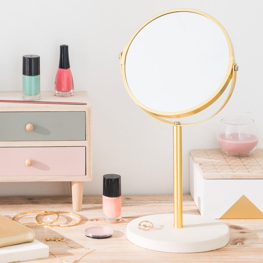 Miroir rond poser en m tal dor et ciment 17x33cm molino for Miroir dore rond