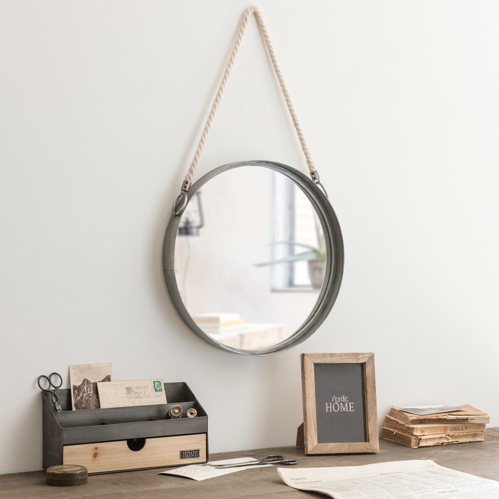 miroir rond suspendre en m tal avec corde d40 maisons. Black Bedroom Furniture Sets. Home Design Ideas