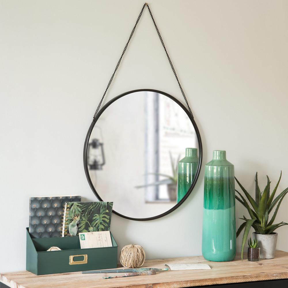 miroir rond suspendre en m tal noir d50 maisons du monde. Black Bedroom Furniture Sets. Home Design Ideas