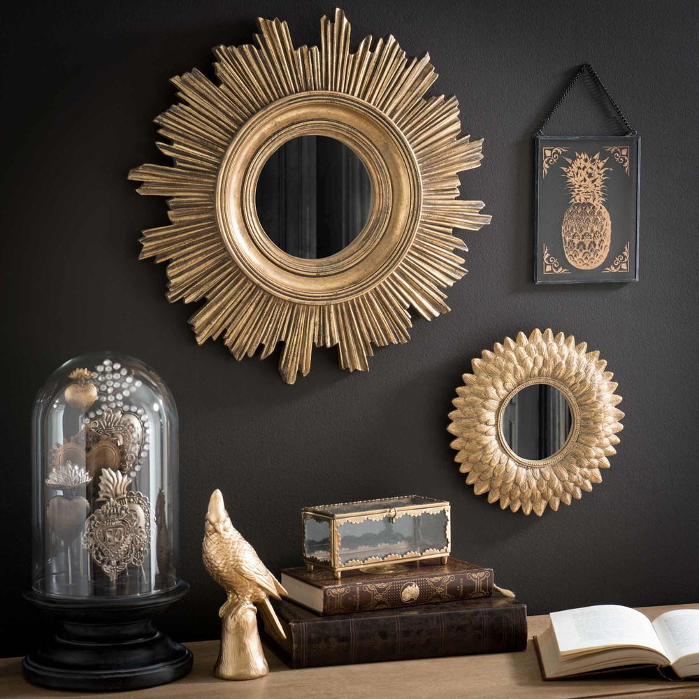 miroir rond dor h 22 cm montauk maisons du monde. Black Bedroom Furniture Sets. Home Design Ideas