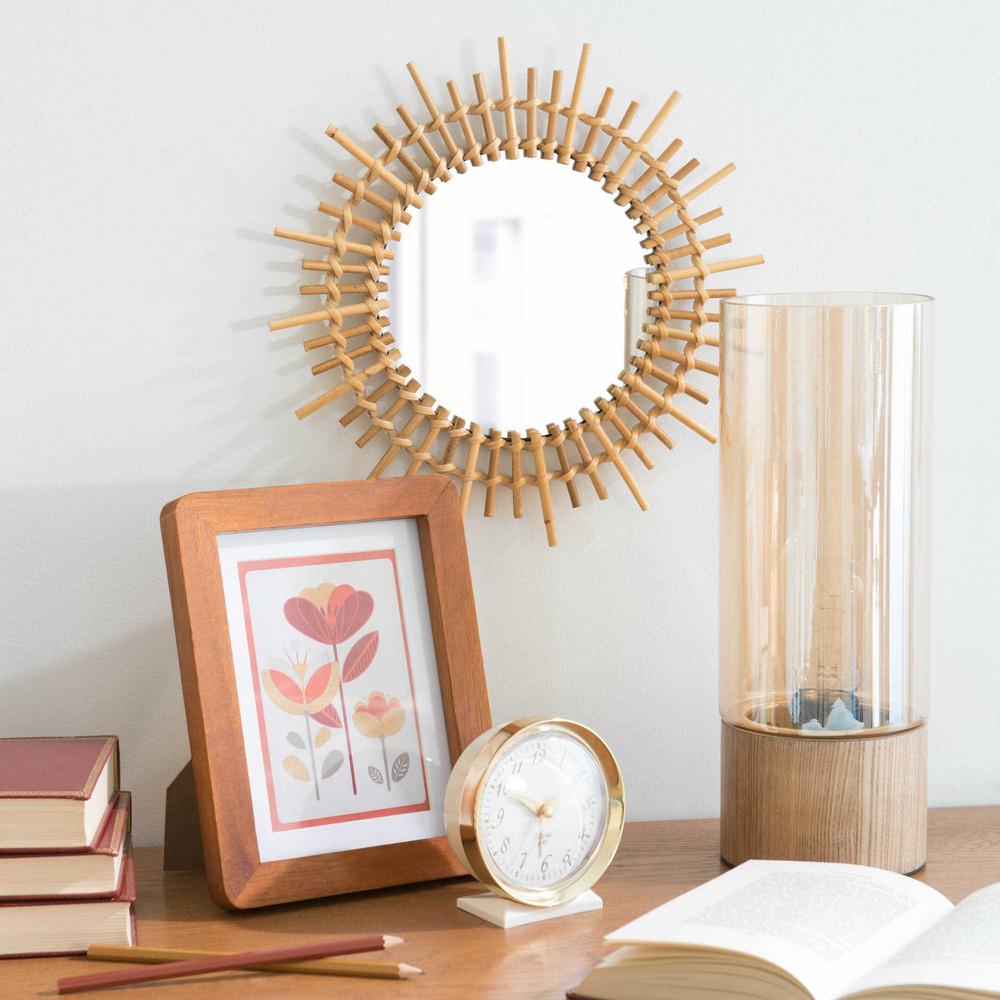Miroir rond en bambou d 30 cm marapong maisons du monde for Miroir rond 40 cm