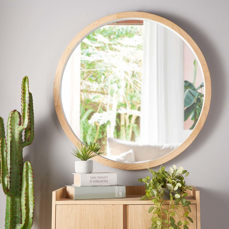 Miroir rond en chêne blanc D100