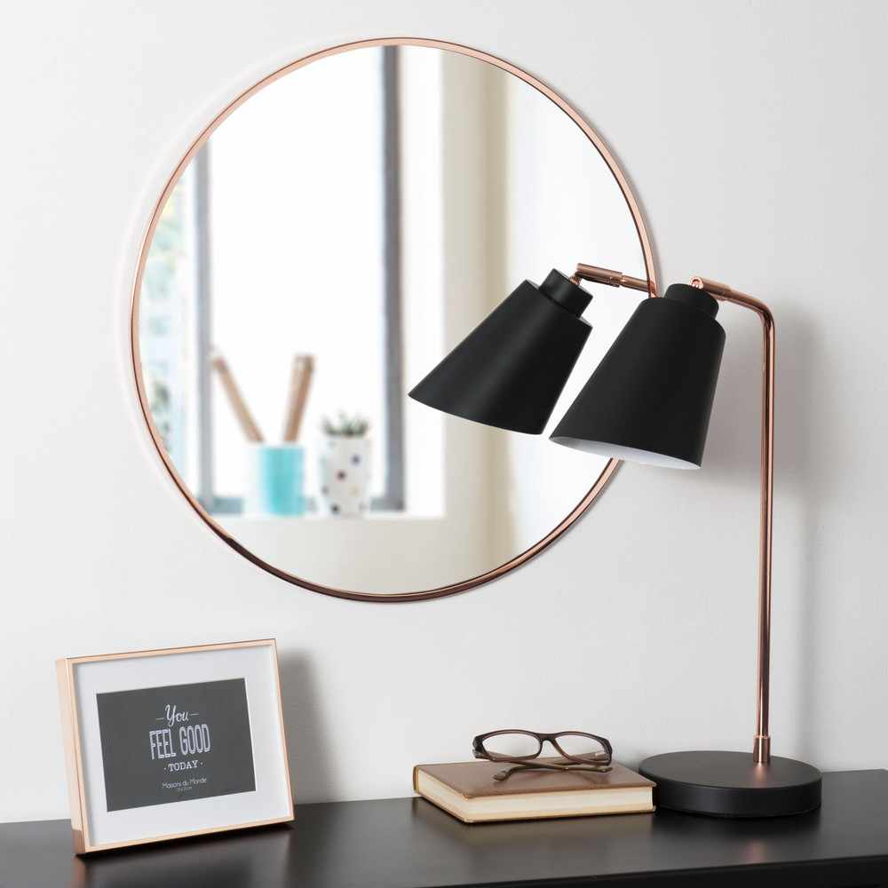 miroir rond en m tal cuivr d 50 cm grazzia maisons du monde. Black Bedroom Furniture Sets. Home Design Ideas