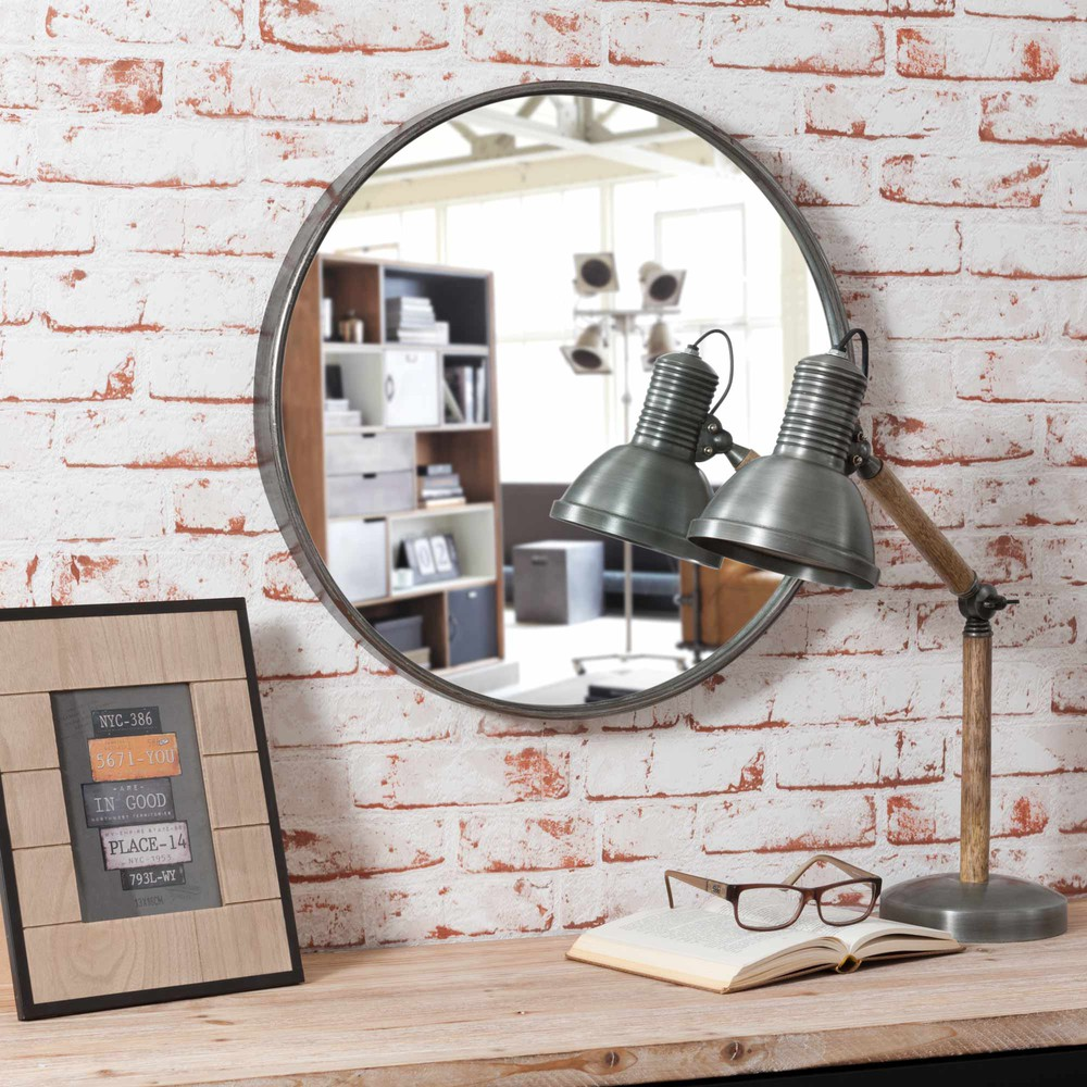 miroir rond en m tal d 50 cm parker maisons du monde. Black Bedroom Furniture Sets. Home Design Ideas