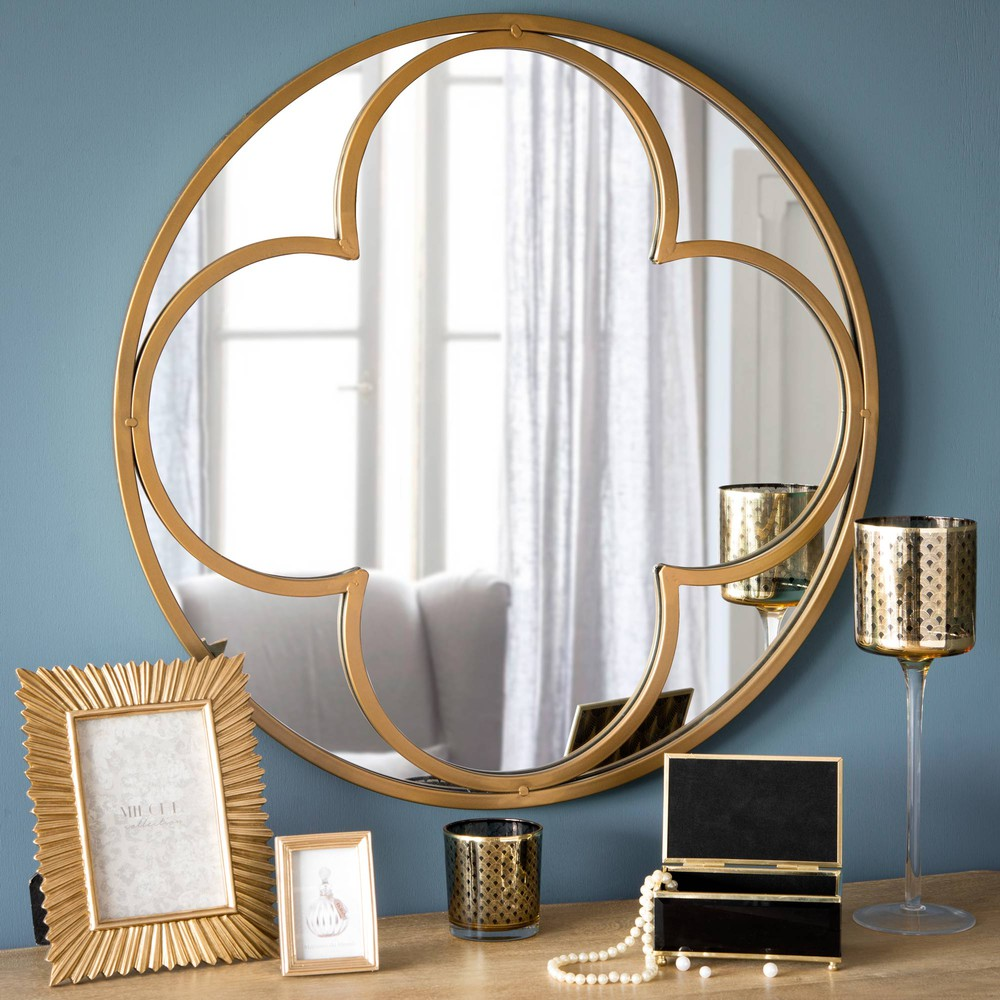 miroir rond en m tal d 60 cm hamptons maisons du monde. Black Bedroom Furniture Sets. Home Design Ideas