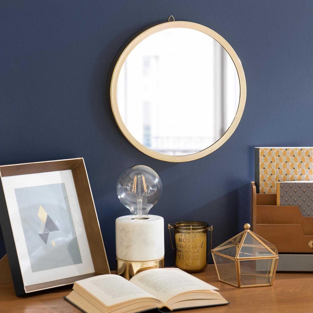 Miroir rond en m tal dor d 31 cm clyde maisons du monde for Miroir dore rond