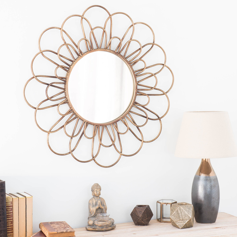 miroir rond en m tal dor d 75 cm jangala maisons du monde. Black Bedroom Furniture Sets. Home Design Ideas