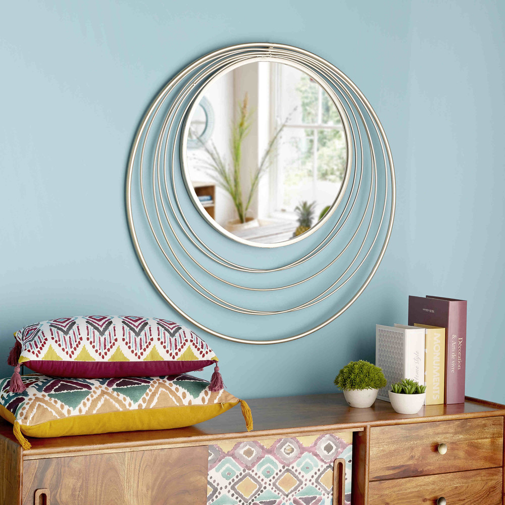 miroir rond en m tal dor klint maisons du monde. Black Bedroom Furniture Sets. Home Design Ideas