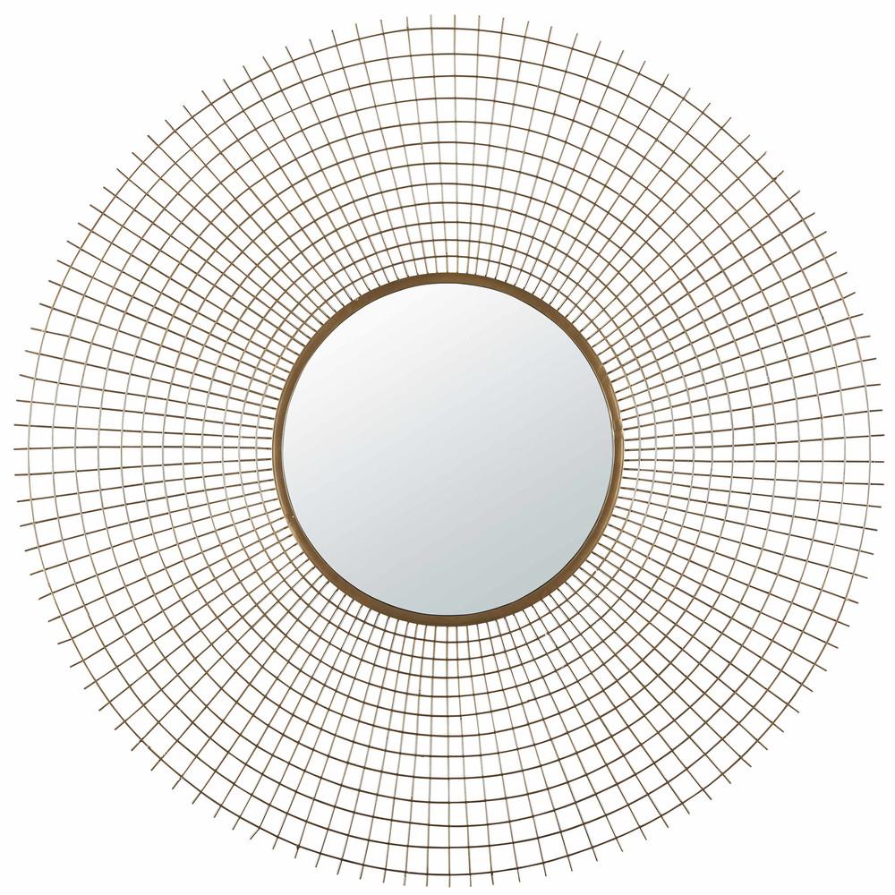 Miroir rond en m tal dor vieilli square effect for Miroir rond dore