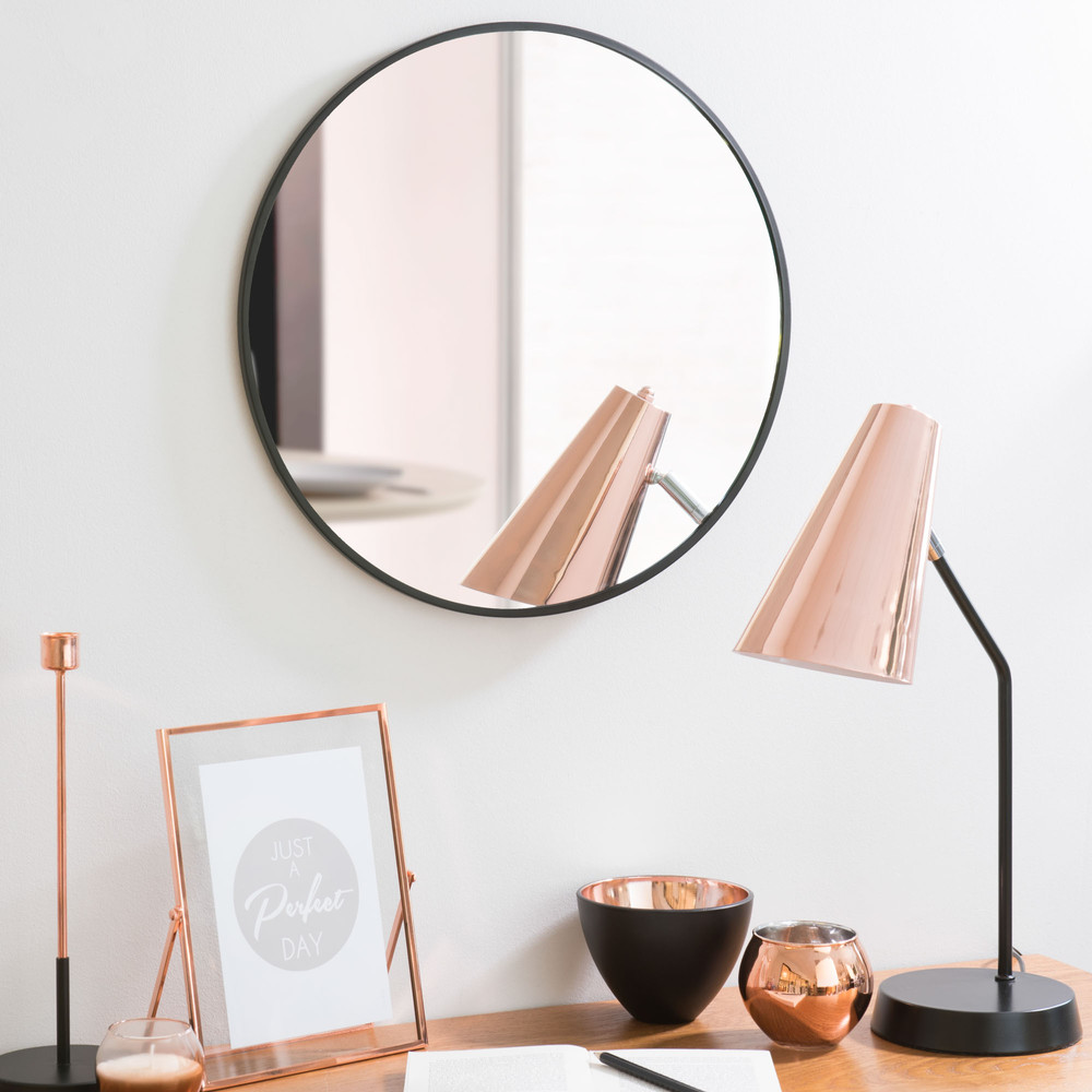 miroir rond en m tal noir d 40 cm grazzia maisons du monde. Black Bedroom Furniture Sets. Home Design Ideas