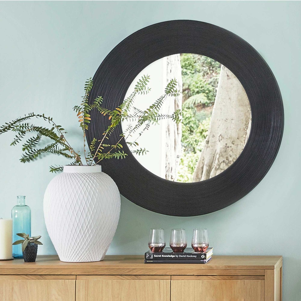 miroir rond en osier noir kalahari maisons du monde. Black Bedroom Furniture Sets. Home Design Ideas