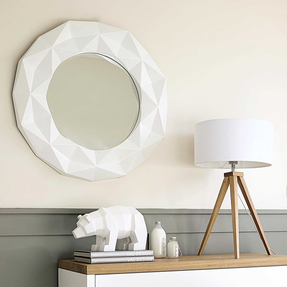 miroir rond en r sine blanche d 79 cm fubuki maisons du monde. Black Bedroom Furniture Sets. Home Design Ideas