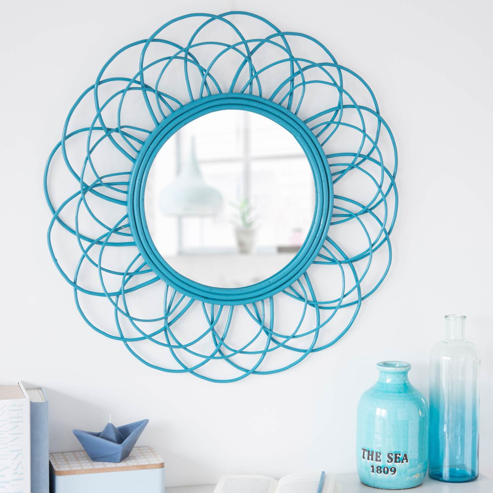 miroir rond en rotin bleu d 70 cm vintage maisons du monde. Black Bedroom Furniture Sets. Home Design Ideas