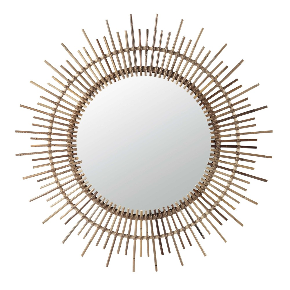 miroir rond en rotin d 90 cm isis maisons du monde. Black Bedroom Furniture Sets. Home Design Ideas