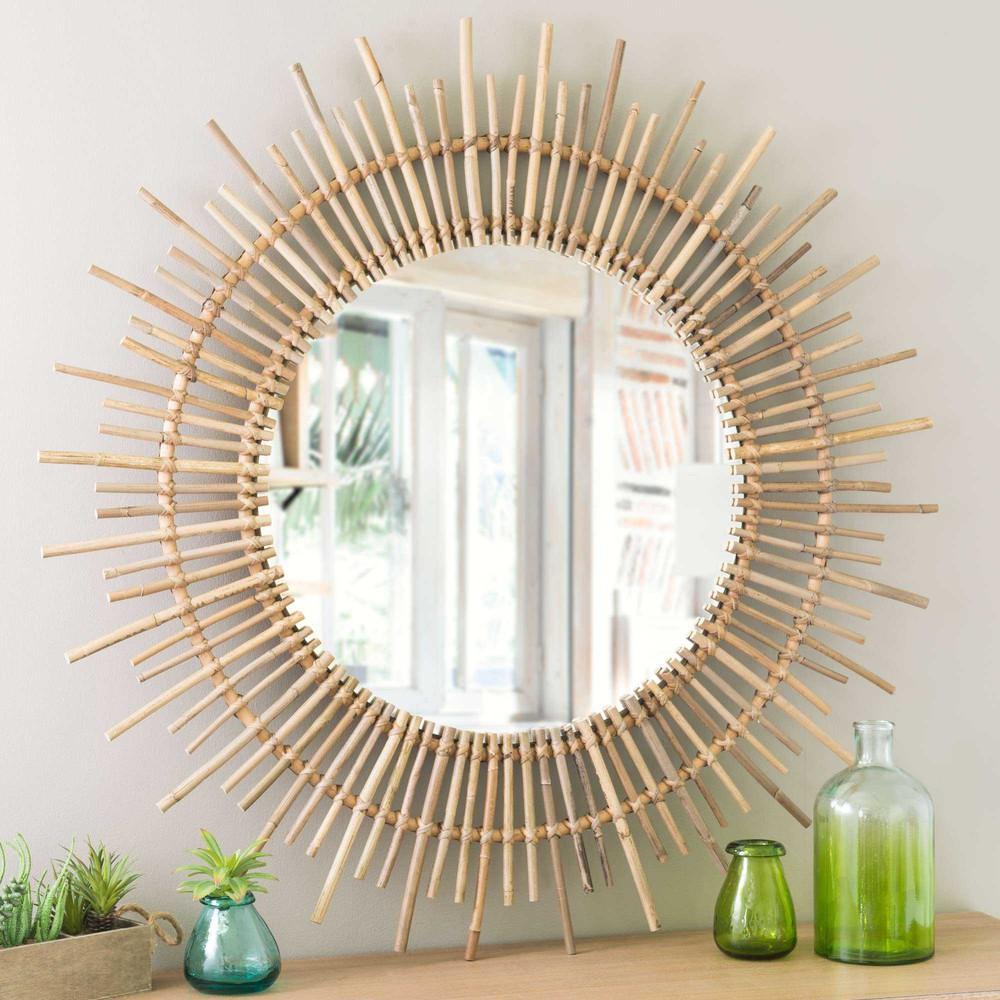 Miroir rond en rotin d 90 cm isis maisons du monde for Miroir exotique