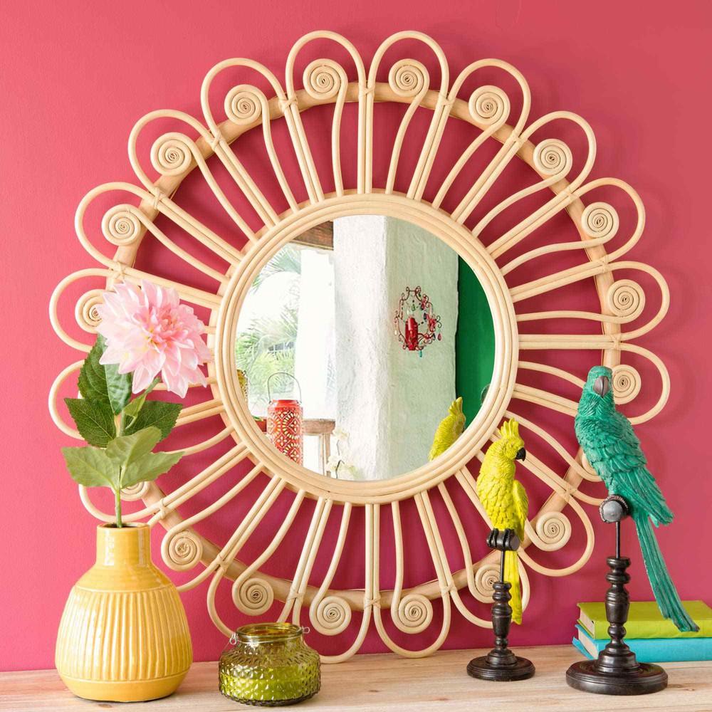 miroir rond en rotin d 90 cm peacock maisons du monde. Black Bedroom Furniture Sets. Home Design Ideas