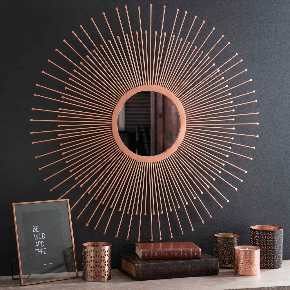 miroir soleil en m tal cuivr d 74 cm copper padova. Black Bedroom Furniture Sets. Home Design Ideas