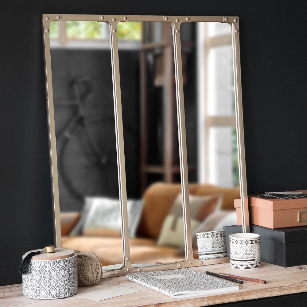 Miroir triptyque en métal cuivré 64x74 | Maisons du Monde