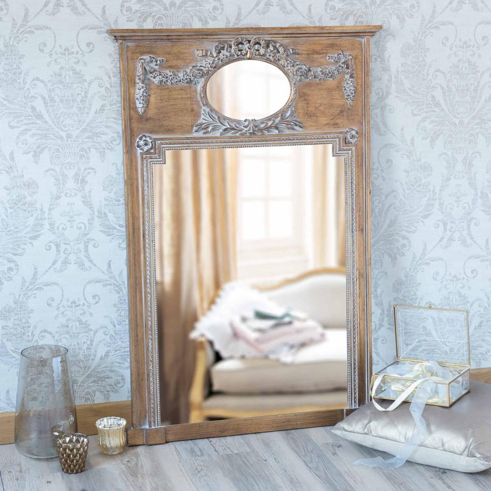 Miroir trumeau en bois dor h 105 cm mirano maisons du monde for Miroir industriel maison du monde