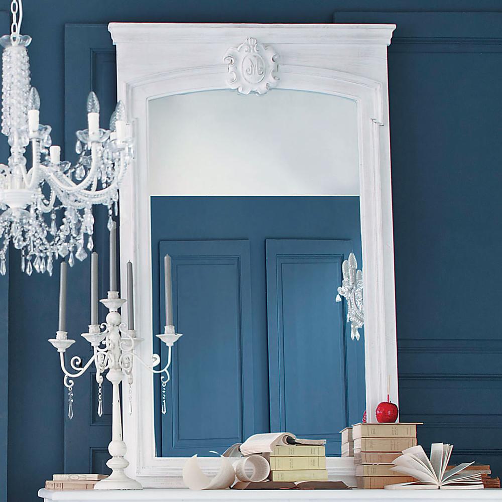 miroir trumeau en sapin blanc h 160 cm jos phine maisons du monde. Black Bedroom Furniture Sets. Home Design Ideas