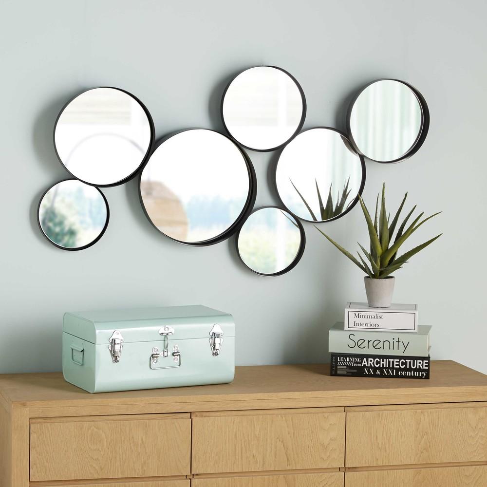 Miroirs ronds en m tal noir 121x66cmv douala maisons du for Grand miroir metal noir