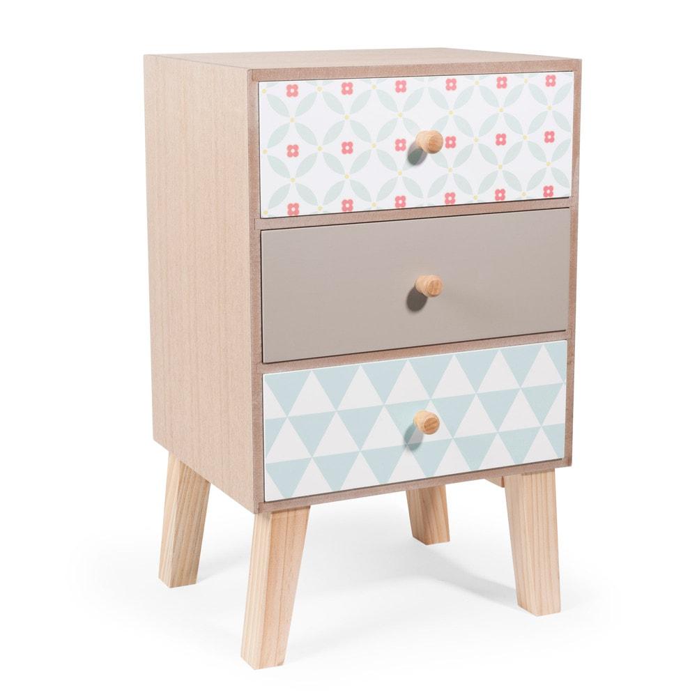 Mobile a 3 cassetti in legno l 24 cm seventies maisons - Mobile a cassetti ...