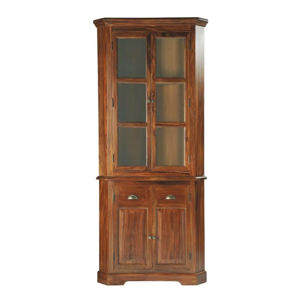 Mobile ad angolo in massello di legno di sheesham l 90 cm - Mobile ad angolo ...