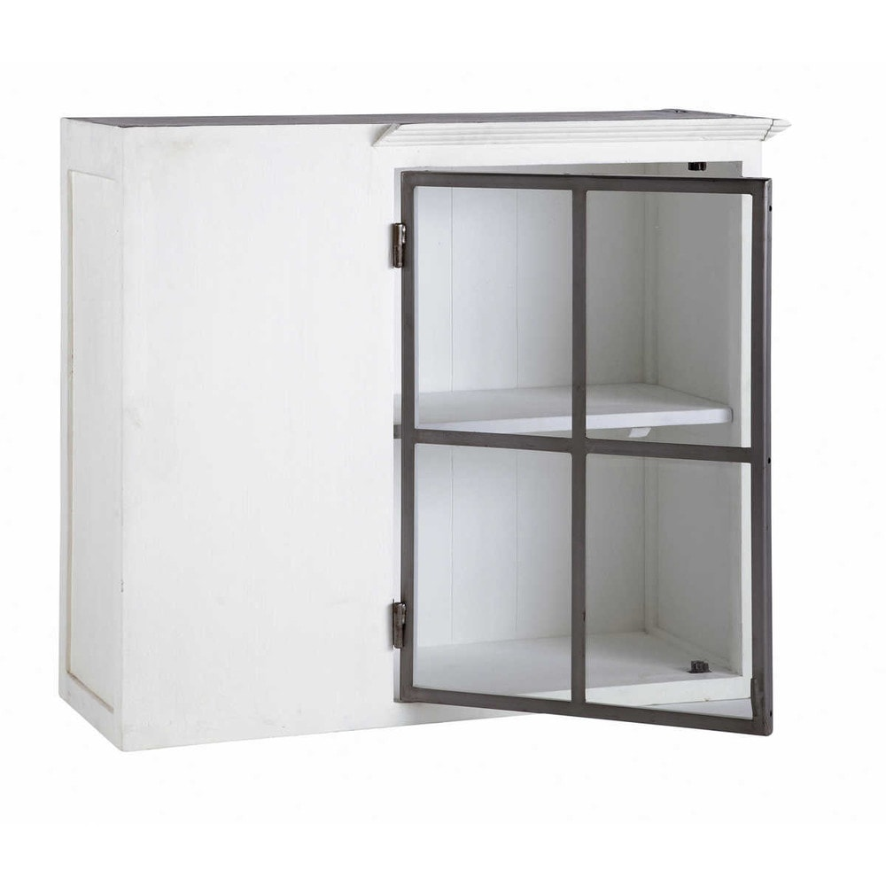 Mobile alto bianco ad angolo da cucina in legno riciclato l 94 cm ostende maisons du monde - Mobile ad angolo cucina ...