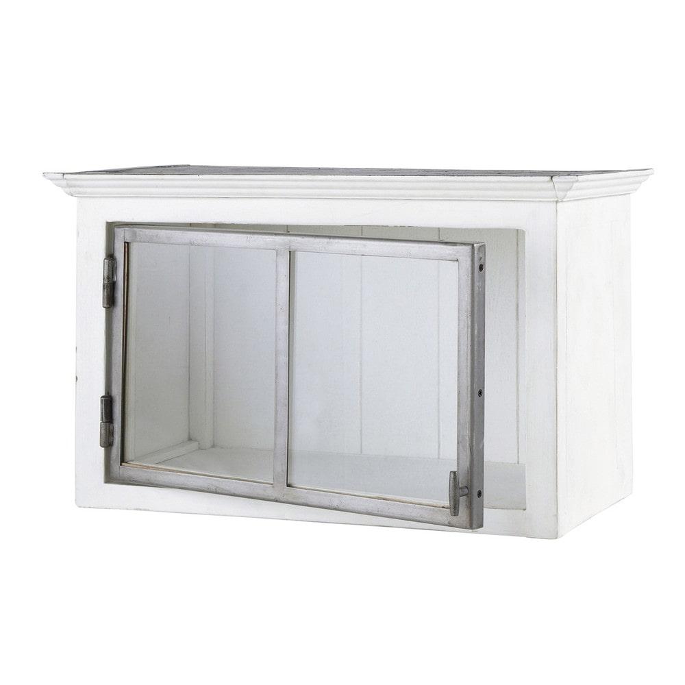 Mobile alto bianco da cucina in legno riciclato con for Cucina legno bianco