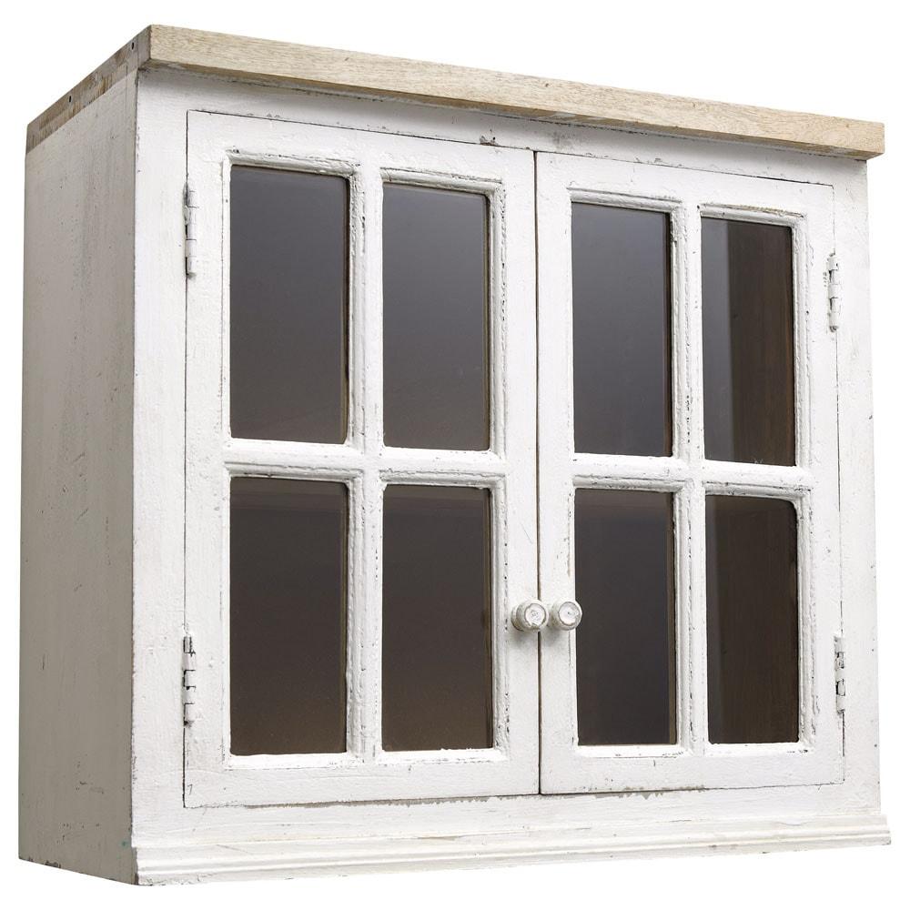 Mobile alto vetrato color avorio da cucina in mango L 70 cm ...