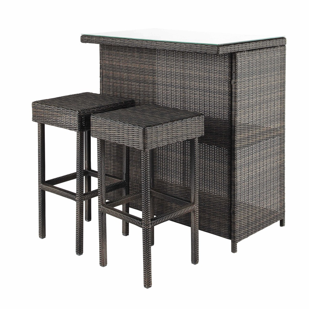 mobile bar 2 sgabelli marroni da giardino in resina intrecciata l 103 cm bali maisons du monde. Black Bedroom Furniture Sets. Home Design Ideas