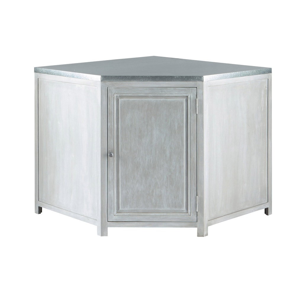 Mobile basso ad angolo da cucina grigio in acacia l 99 cm - Mobile cucina ad angolo ...