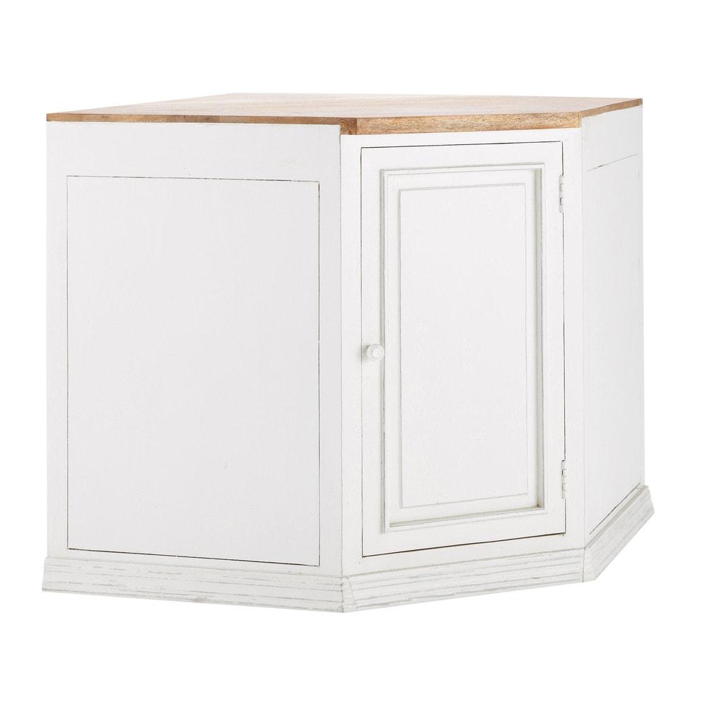 mobile basso bianco ad angolo da cucina in mango l 133 cm