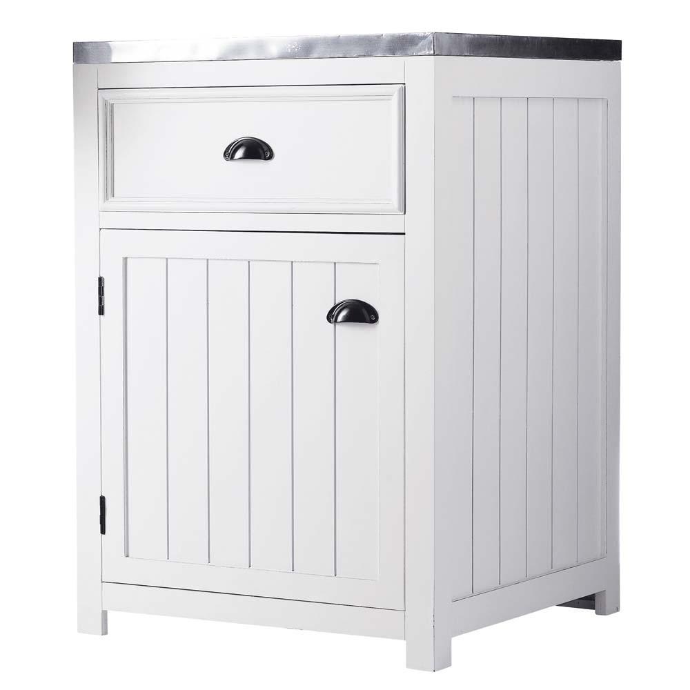 Mobile basso bianco da cucina in legno con apertura a - Cucina legno bianco ...