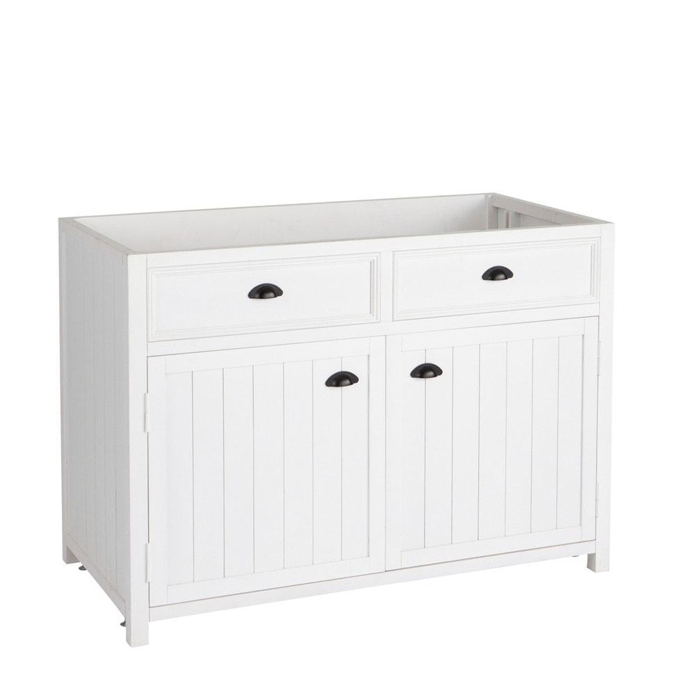 Mobile basso bianco da cucina in legno L 120 cm Newport  Maisons du ...