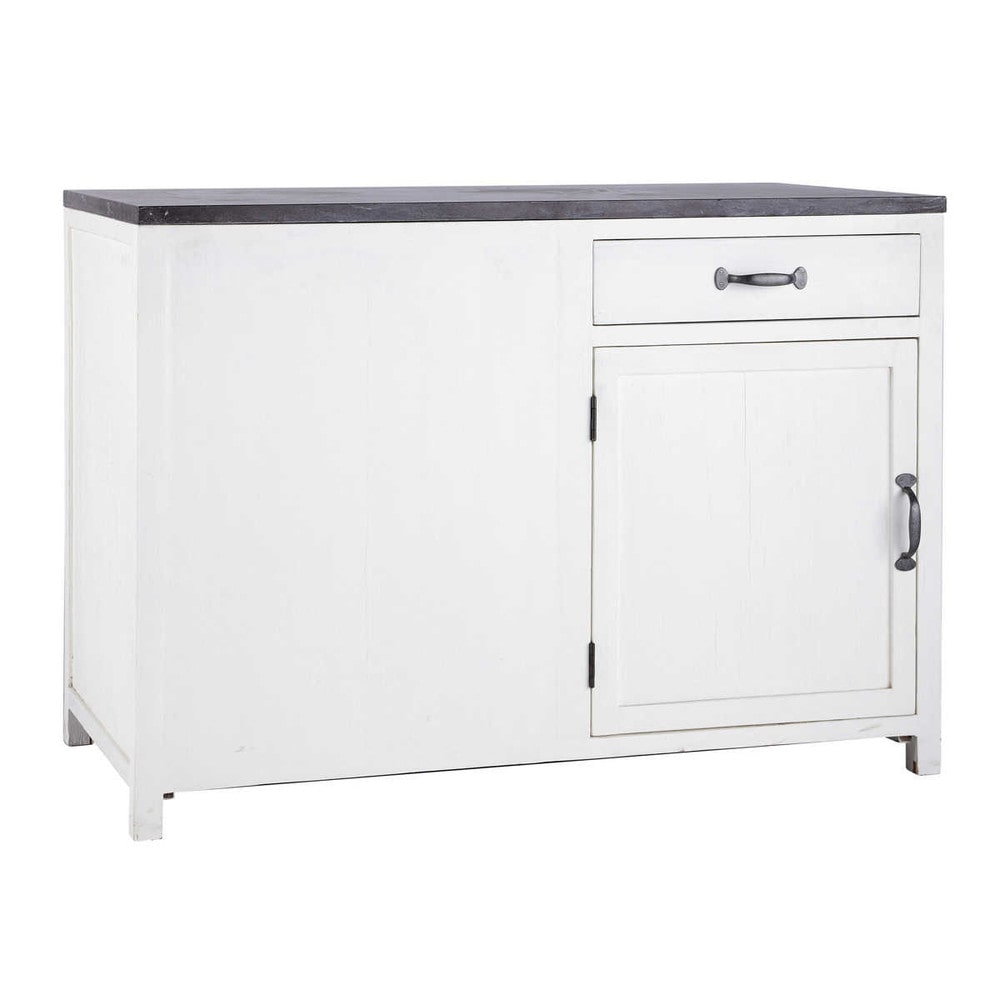 Mobile basso bianco da cucina in legno riciclato L 120 cm Ostende  Maisons du Monde