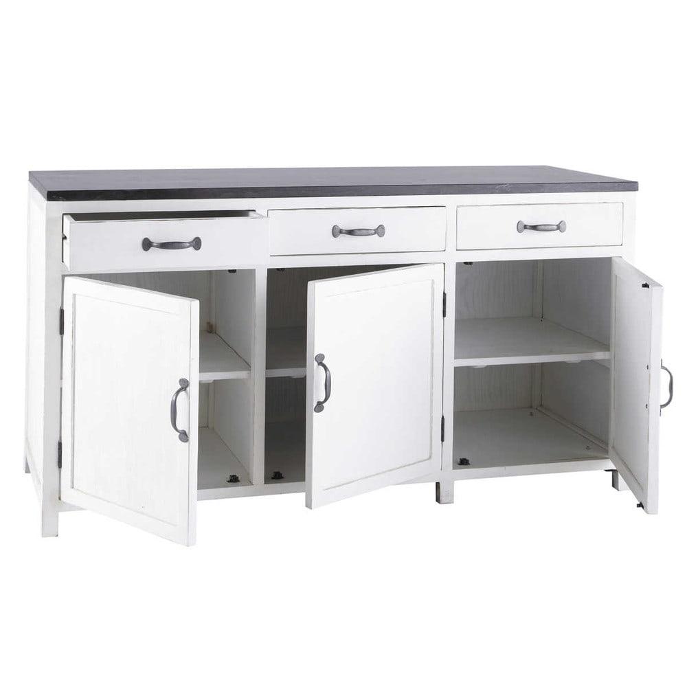 Mobile basso bianco da cucina in legno riciclato l 160 cm - Mobile cucina bianco ...