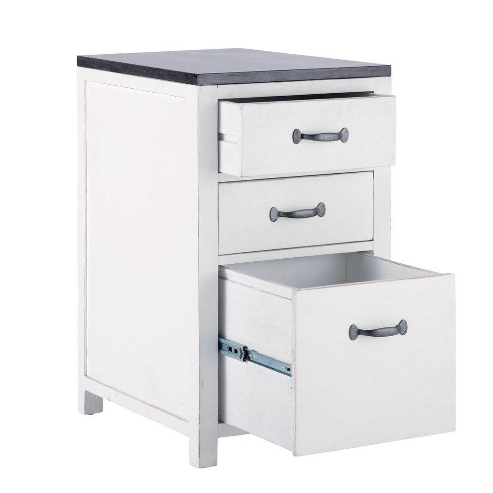 mobile basso bianco da cucina in legno riciclato l 50 cm ostende maisons du monde. Black Bedroom Furniture Sets. Home Design Ideas