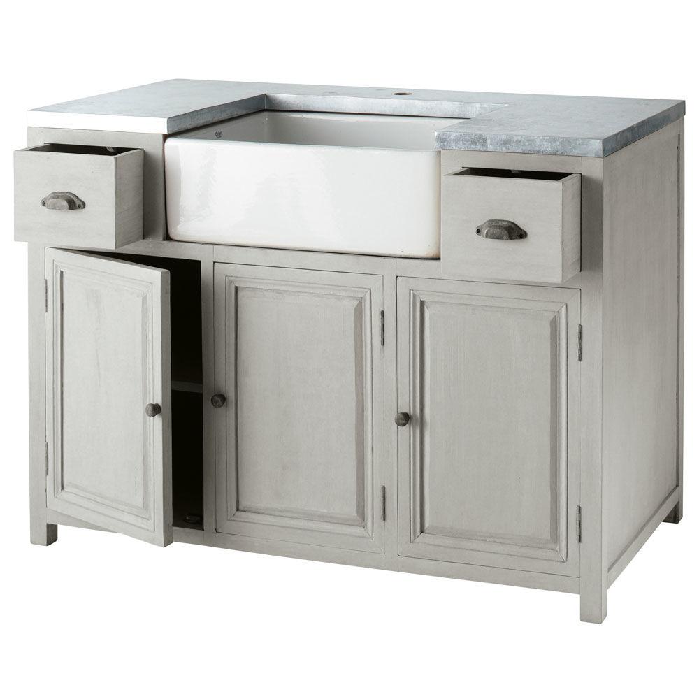 Mobile basso da cucina grigio in acacia con lavello L 120 cm Zinc ...